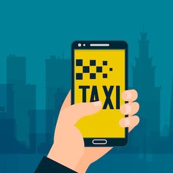Taxidering in der handphone fahne. mitfahrgelegenheit und miete servicd.