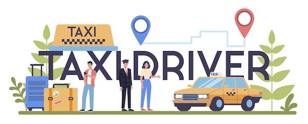 Taxifahrer, service typografisches header-konzept. gelbes taxi. autokabine mit fahrer im inneren. idee des öffentlichen stadtverkehrs.