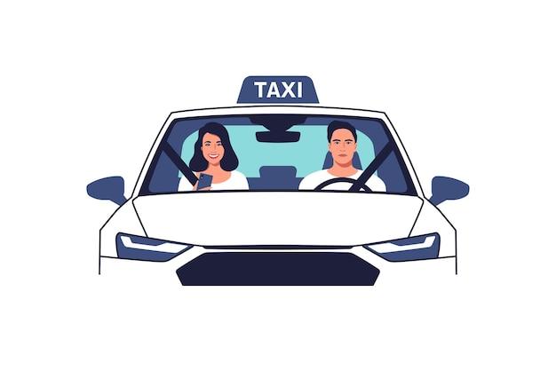 Taxifahrer und eine beifahrerfrontansichtillustration
