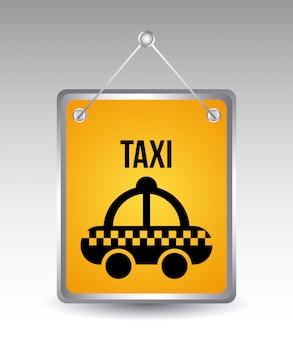 Taxiikonen über grauer hintergrundvektorillustration