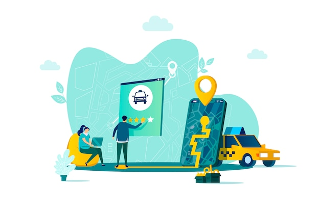 Taxiservice-konzept im stil mit personencharakteren in der situation