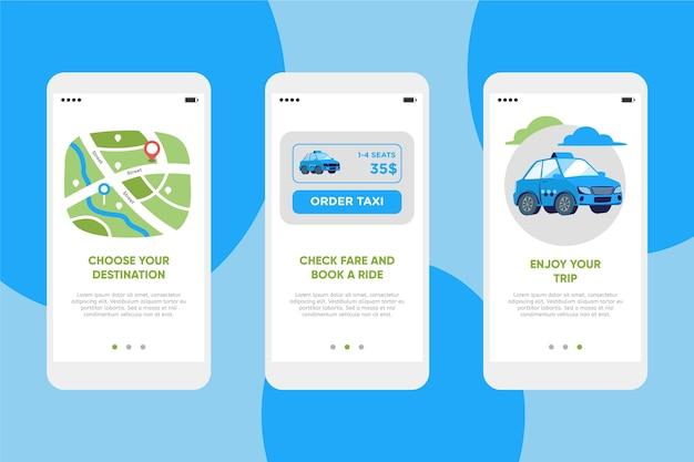 Taxiservice onboarding app bildschirme