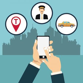 Taxiservice online app stadt hintergrund