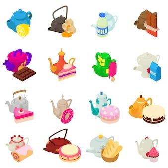 Tea day icon set
