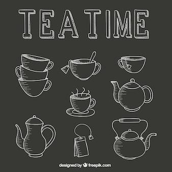 Tea time icons set