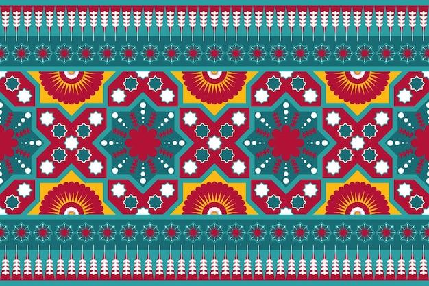 Teal rot gelb vintage ethnischen geometrischen orientalischen nahtlose traditionelle blumenmuster. design für hintergrund, teppich, tapetenhintergrund, kleidung, verpackung, batik, stoff. stickstil. vektor.