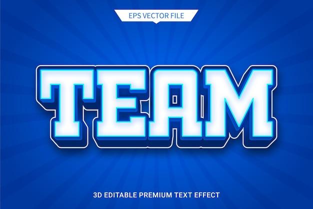 Team 3d bearbeitbarer textstileffekt premium-vektor