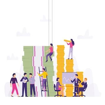 Team arbeitet zusammen, um gewinn und unternehmensinvestitionen aufrechtzuerhalten