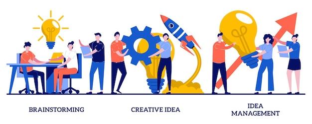 Team-brainstorming, ideenmanagement, kreatives ideenkonzept mit illustration kleiner leute