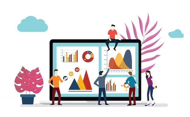 Team-büroangestellter, der zusammenarbeitet, um vektorillustration der infographics datenwissenschaft zusammen zu analysieren