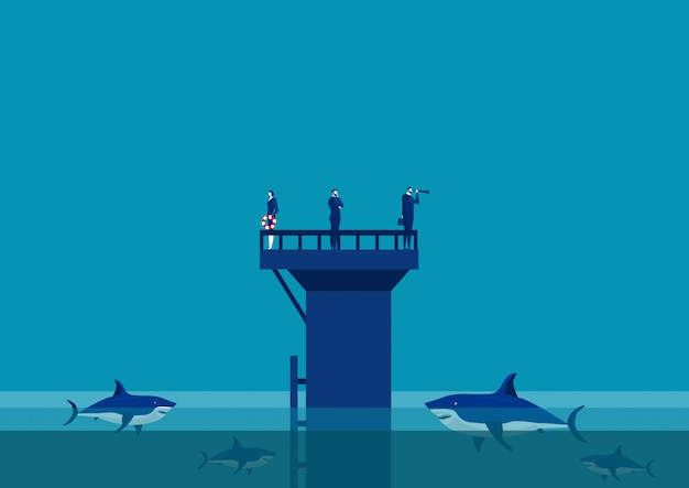 Team business an der wand mitten im meer team von haien umgeben.