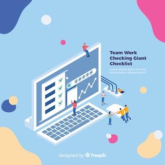 Team, das an checklistenhintergrund arbeitet