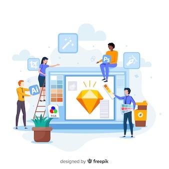 Team, das an grafikdesign arbeitet