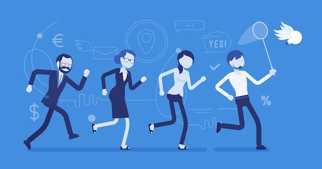 Team, das eine ideenillustration jagt