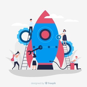 Team, das einen raketenhintergrund aufbaut