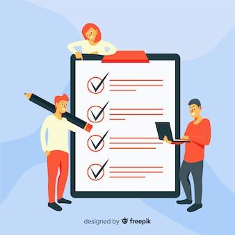 Team, das riesigen checklistenhintergrund überprüft