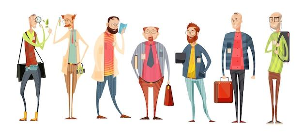 Team der retro- karikatursammlung der lehrer mit vielzahl von männern in den gläsern mit ausweisen lokalisierte vektorillustration