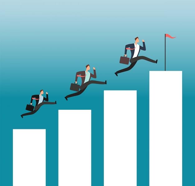 Team erreicht das ziel. erfolgreiche leute, die auf wachsenden diagrammstangen laufen. geschäftsleistung vektor-konzept