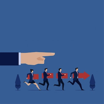 Team follow manager instruction metapher of teamwork.