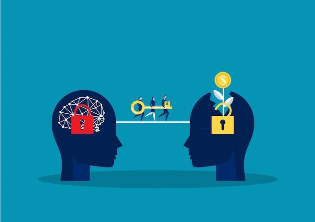Team-geschäftsmann tragen großen schlüssel zum wachstum denkweise für presse entsperren konzept konzeptvektor