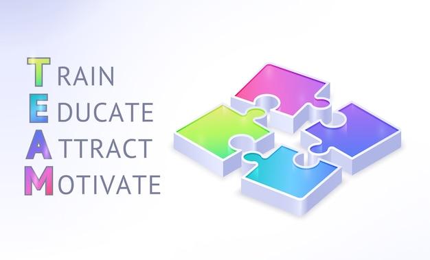 Team isometrisches banner mit puzzleteilen und abkürzung für wörter trainieren, bilden, anziehen, motivieren. teamwork kooperation, geschäftspartnerschaft, verbindung. realistische 3d-illustration, plakat