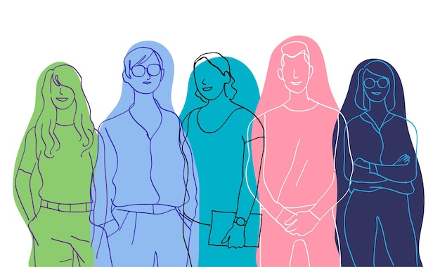 Team junger talentierter menschen gruppe von männlichen und weiblichen charakteren