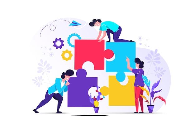 Team metapher. menschen, die puzzle-elemente verbinden