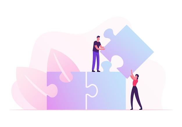 Team-, partnerschafts- und teamwork-kooperationskonzept. karikatur flache illustration