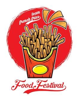 Team-pommes-frites-lebensmittelfestival-vektorillustration