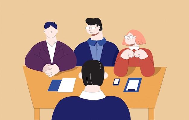 Team professionelle mann und frau interview cartoon männliche jobsuche flache illustration