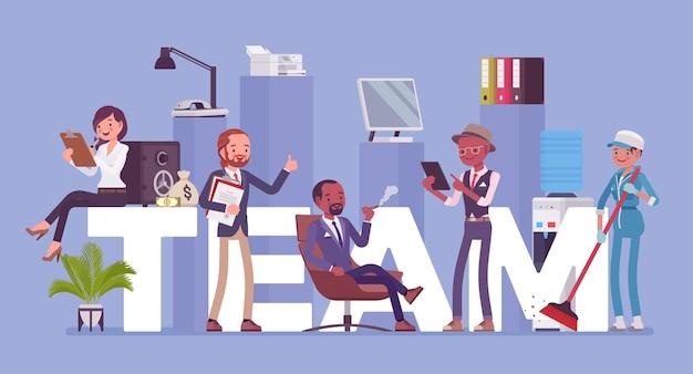 Team riesenbriefe und verschiedene leute