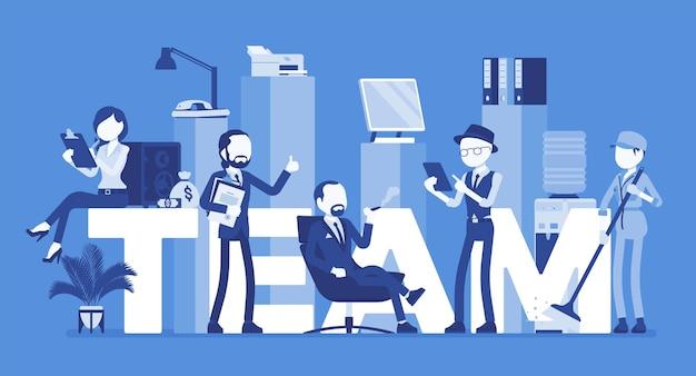 Team riesige buchstaben und menschen. gruppe verschiedener männer, die zusammenarbeiten, um ein gemeinsames ziel, freundschaft und zusammenarbeit zu erreichen, um aufgaben, jobs und geschäftsprojekte zu erledigen. vektorillustration, gesichtslose charaktere