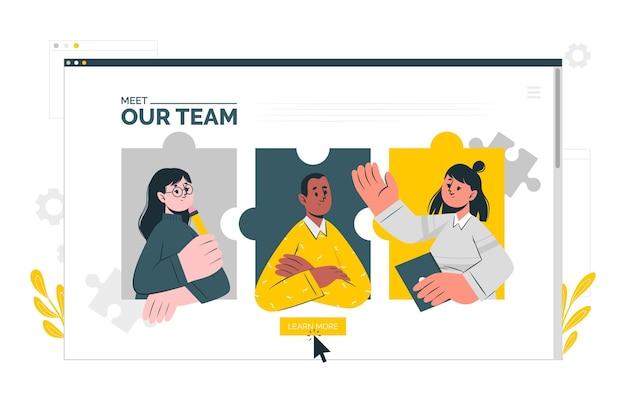 Team seite konzept illustration Kostenlosen Vektoren