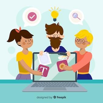 Team teilen, um grafikdesign zu machen