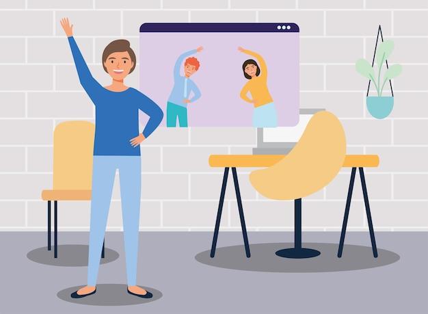 Team übt aktive pausen online am arbeitsplatz