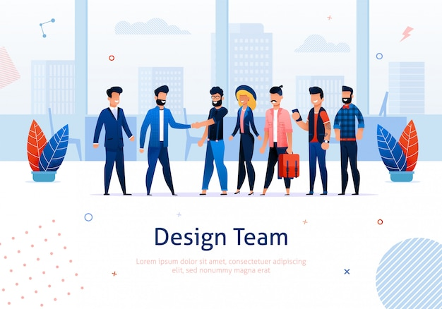 Team und cartoon people meeting und geschäftsmann, mann und frau