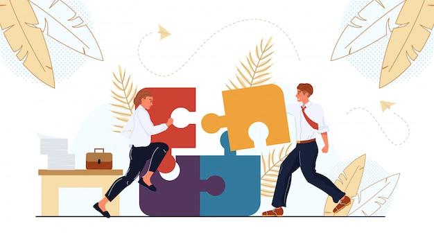 Team verbindet puzzle zusammen