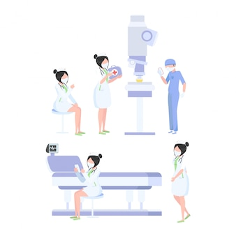 Team von medizinischen arbeitskräften auf einem weißen hintergrund