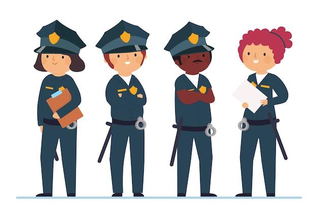Team von polizisten an vorderster front