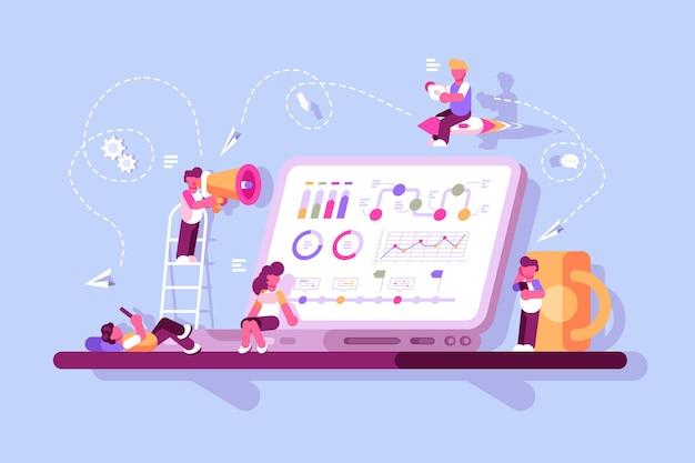 Team von spezialisten, die an der strategie für digitales marketing arbeiten