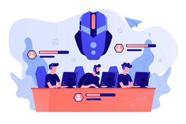Team von spielern, die spielcharaktere im online-kampf kontrollieren. multiplayer online battle arena, moba arts-spiel, action-echtzeit-strategiekonzept