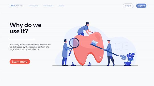 Team von zahnärzten, die sich um die zähne kümmern