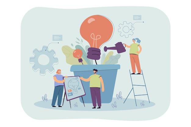Team wächst glühbirnenpflanze. geschäftsleute, die ideen für klimawandel, umwelt und elektrizität entwickeln. karikaturillustration
