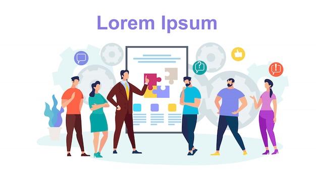 Team work horizontal banner mit textfreiraum