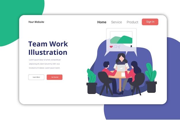 Team work page illustration vorlage flaches design