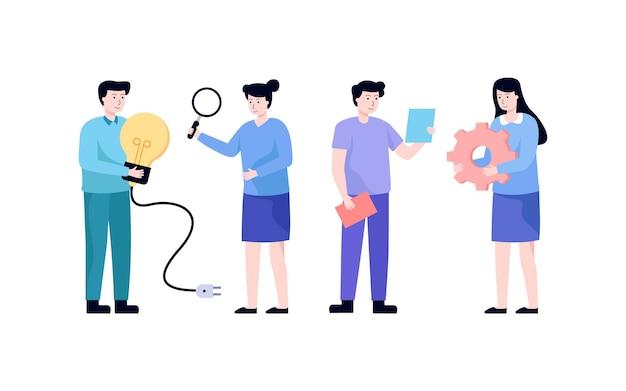 Team zusammenarbeiten, um probleme zu lösen, menschen entwickeln eine geschäftsstrategie. männer und frauen auf der suche nach idee, business-teamwork-konzept.