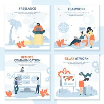 Teamarbeit-banner-set