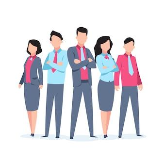 Teamarbeit der business-charaktere. büroangestellte corporate mitarbeiter cartoon teamwork kommunikation. illustration des geschäftsteams
