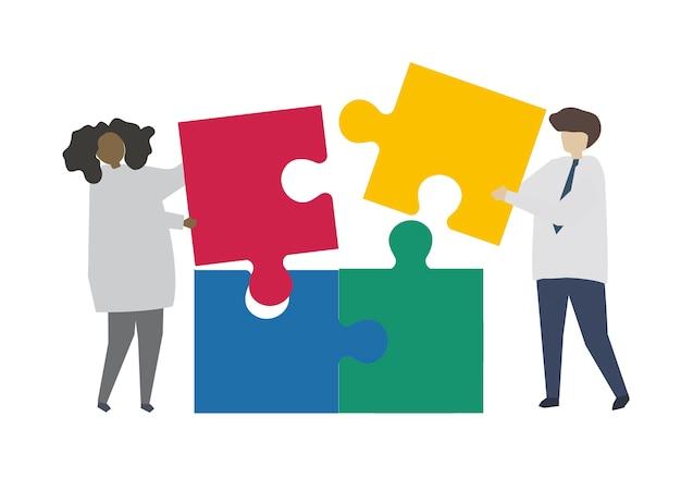 Teamarbeit, die puzzlestück verbindet