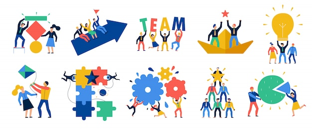 Teamarbeit icons set